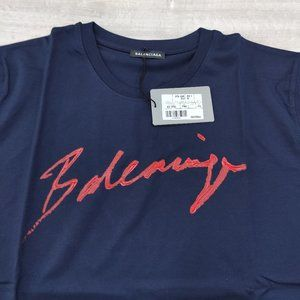 Balenciaga Men Navy Blue Color Jersey T-Shirt